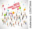 a large group of person celebrating 2013 new year vector design - stock photo