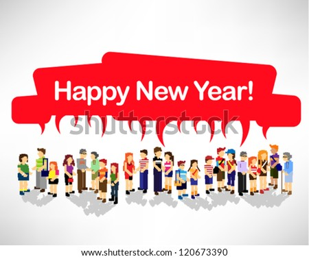 a large group of person celebrating new year vector design - stock vector