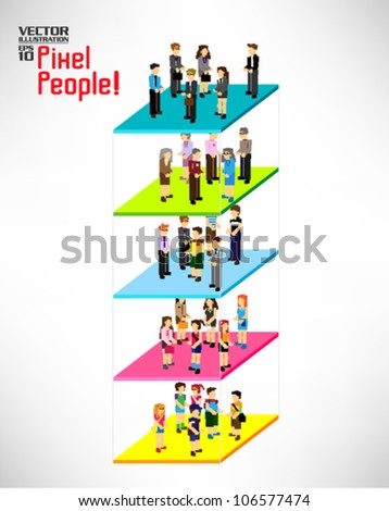 a large group of pixel people with different category vector icon design - stock vector