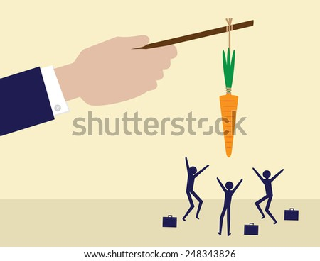 A large hand holds a carrot on a stick while his employees try to get it. A metaphor on management and leadership.