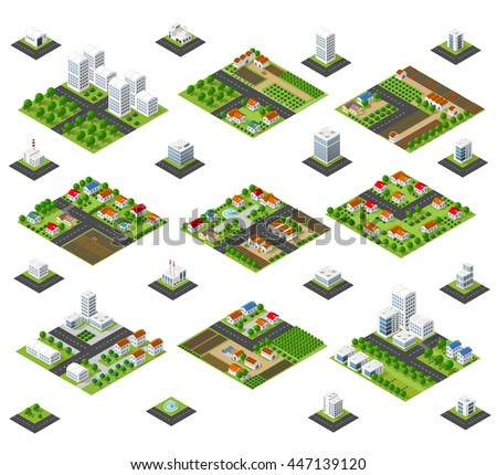 A large kit of 3D metropolis of skyscrapers, houses, gardens and streets in a three-dimensional isometric view - stock vector