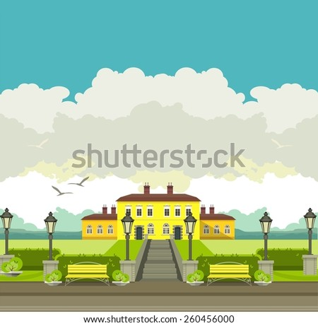 a large mansion near which is a beautiful park with trees and benches seating area in the countryside - stock vector