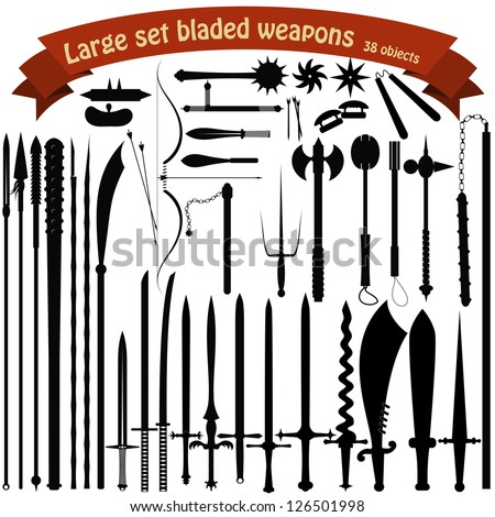 A large set bladed weapons - stock vector
