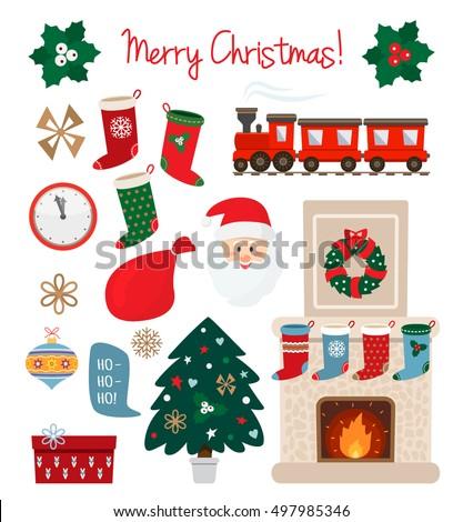 Large Set Christmas Symbols Isolated On Stock Vector 497985346