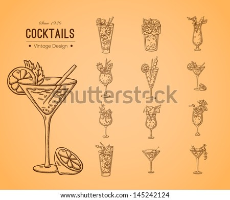 A large set of fresh cocktails. Easily editable vector. Various drinks on the background. Isolated objects. For menu. Hand drawing. Vintage label. - stock vector