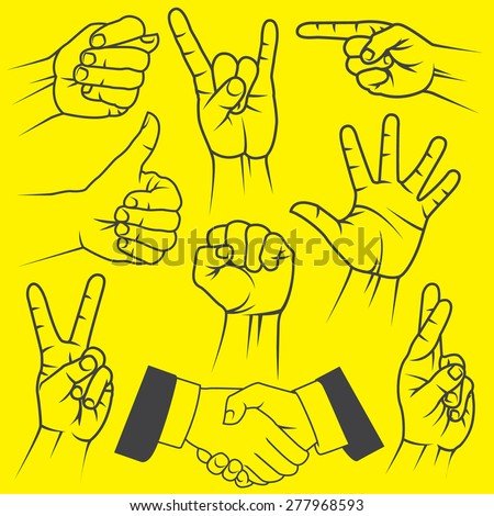 A large set of hand gestures on a yellow background.