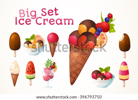 A large set of ice cream. Different types, many flavors. Icons, design, logo. Big set. - stock vector