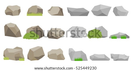 A large set of stones, realistic stone, stone icon, mountain, vector stone, gray stones, brown stones, rock illustration, image rock, flat rock. Flat design, vector.