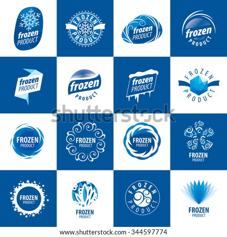 a large set of vector abstract logos for freezing - stock vector
