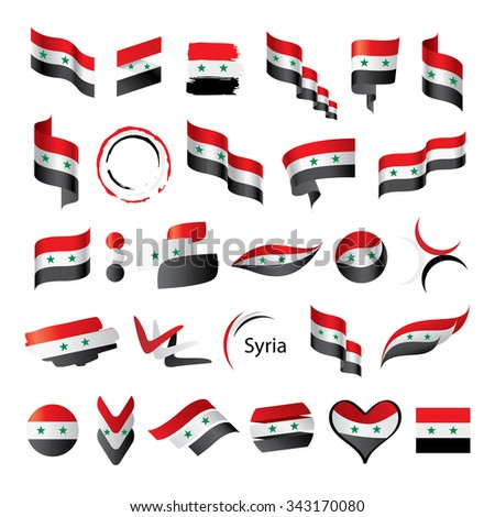 a large set of vector flags and ribbons for Syria - stock vector