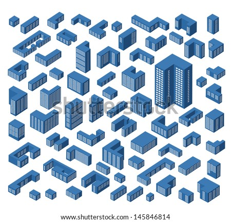 A large set of vector isometric buildings - stock vector