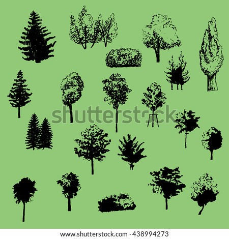 a large set of vector silhouettes trees