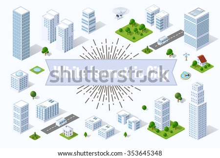 A large white city of isometric urban objects. A set of urban buildings, skyscrapers, houses, supermarkets, roads and streets. - stock vector