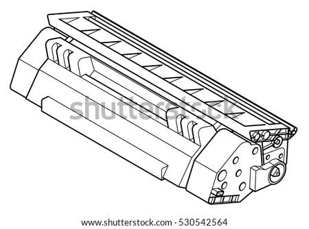 A laser printer toner cartridge in line drawing style.