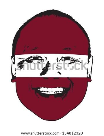 A Latvia flag on a face, isolated against white.  - stock vector