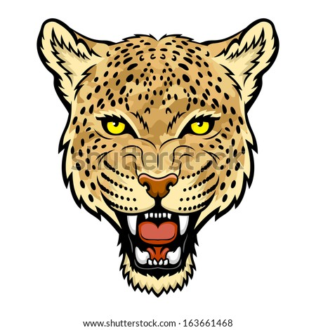 A Leopard head. Perfect for paintball mascot in a military style. This is vector illustration ideal for a mascot and tattoo or T-shirt graphic. - stock vector