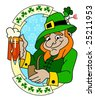 A leprechaun with glass of beer - stock vector