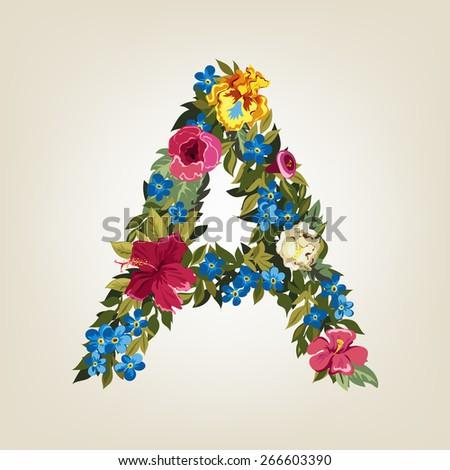 A  letter. Flower capital alphabet. Colorful font. Uppercase.  Vector illustration. - stock vector
