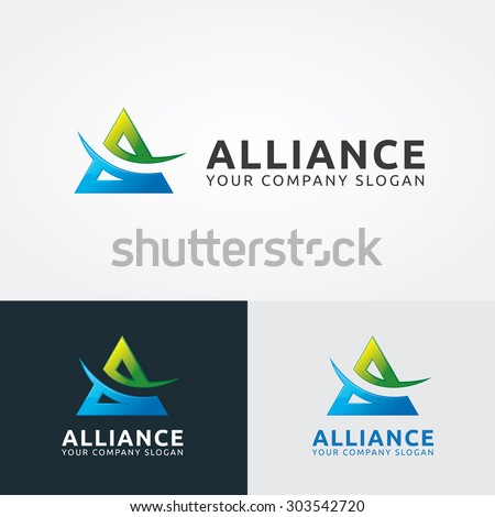 A letter logo,alliance,vector logo template - stock vector
