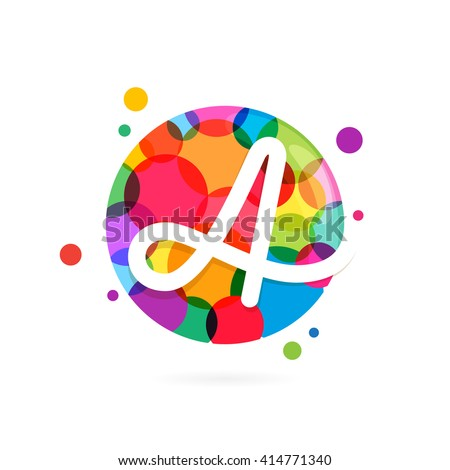 A letter logo in circle with rainbow dots. Font style, vector design template elements for your application or corporate identity. - stock vector