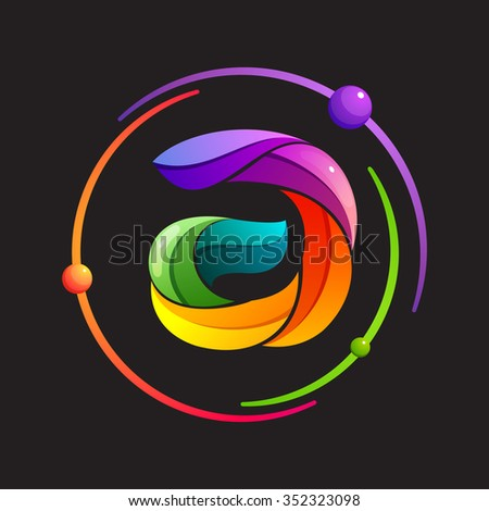 A letter logo with atomic or space orbits. Abstract trendy multicolored vector design template elements for your application or corporate identity. - stock vector