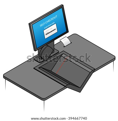 A library self check out / loans machine.  - stock vector