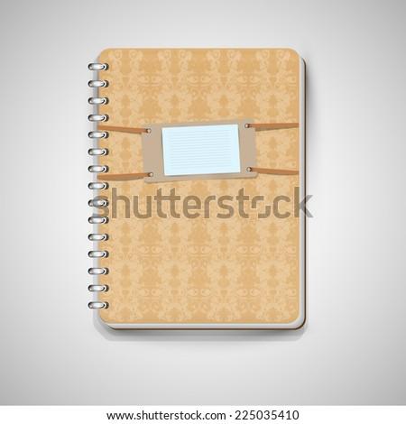 A light-brown notebook, vector - stock vector
