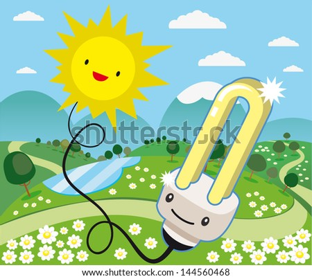 a light bulb connected to the sun in harmony with nature - stock vector