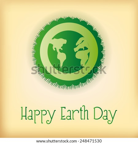 a light yellow background with a green label and text for earth day - stock vector