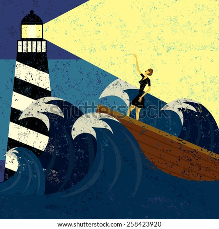 A lighthouse providing guidance to a boat in a stormy sea. The lighthouse, woman & boat, and the waves are on a separate labeled layer from the background.  - stock vector