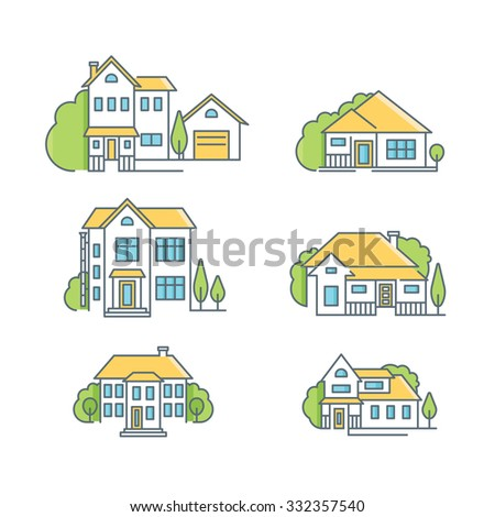 A line icon set of colorful  houses, EPS 10, no transparencies