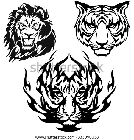 A Lion and Tiger head logo in black and white. - stock vector