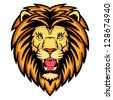 A Lion head logo. This is vector illustration ideal for a mascot and tattoo or T-shirt graphic. - stock photo
