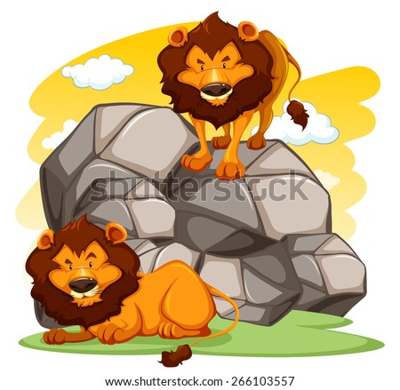 A lion standing on rocks another lying down