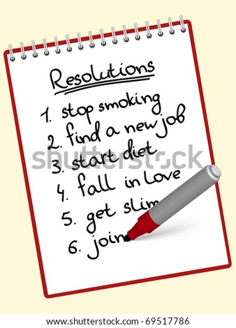 a list of resolutions for starting new life - stock vector