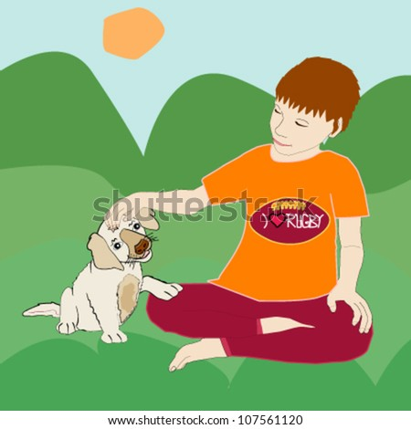 A little boy fondling and playing with his puppy - stock vector