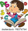 A little boy studies on a book. Letters and numbers take off from a book - stock vector