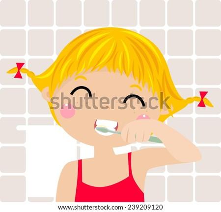 a little girl brushing her teeth - stock vector