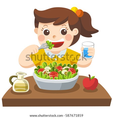 Little Girl Happy Eat Salad She Stock Vector 587671859 ...