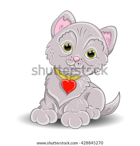 A little grey cat has  green eye  and wearing a heart leash around the neck.