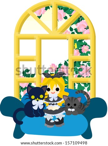 A little madam wearing a black dress and sitting on the sofa, and black cats wearing ribbon ties.