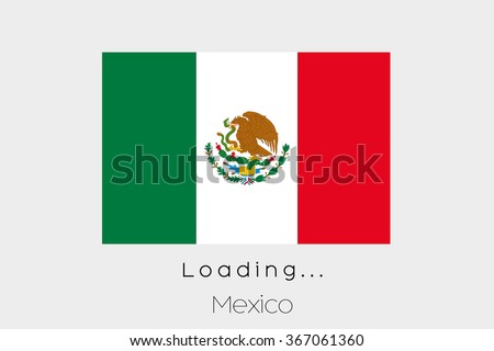 A Loading Flag Illustration of the country of Mexico - stock vector
