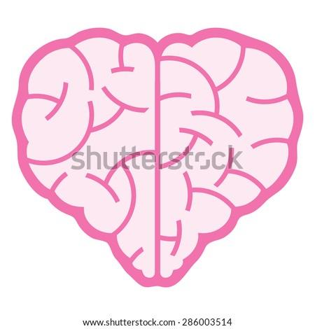 A logo design of a brain that inspire a heart shape. - stock vector
