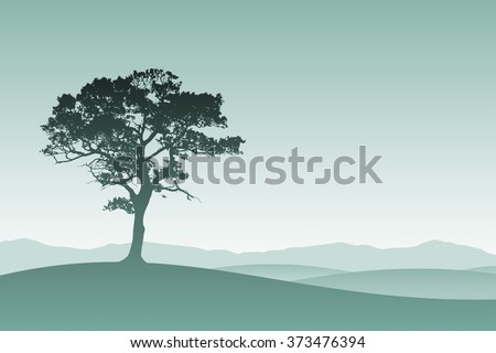 A Lone Tree in Silhouette with Meadow Landscape - stock vector