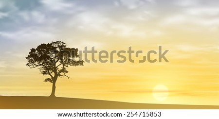 A Lone Tree with Misty Sunset, Sunrise. Vector EPS 10.