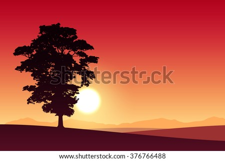A Lone Tree with Red Sunset, Sunrise. - stock vector