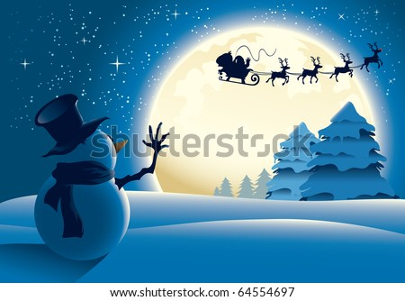 A lonely snowman waving to santa in a distance, full moon background. The file is layered for easier editing. - stock vector