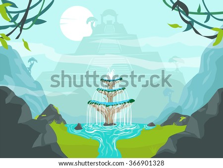 A Lost City with Fountain of Youth or Elixir of Life. Editable Clip Art. - stock vector