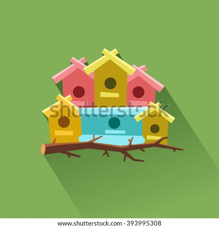 A lot of bird houses on one tree. Community concept. Flat icon. Vector colorful illustration in flat style - stock vector