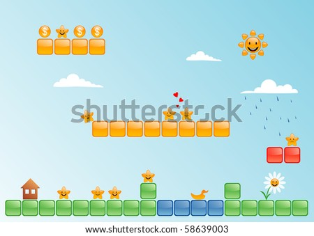 A lot of cartoon stars in the game world - stock vector